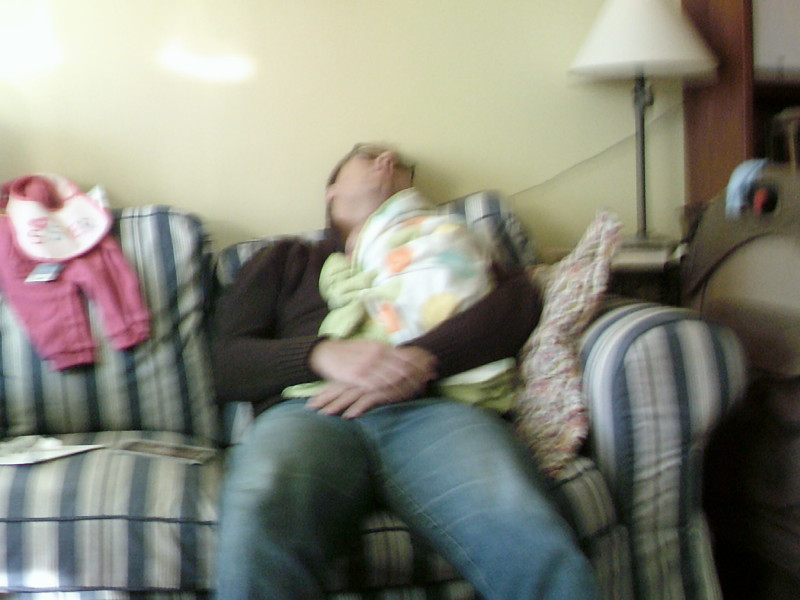 Daddy sleeping on couch