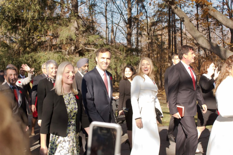 Image of the Canadian ministers-designate walking to the swearing in ceremony