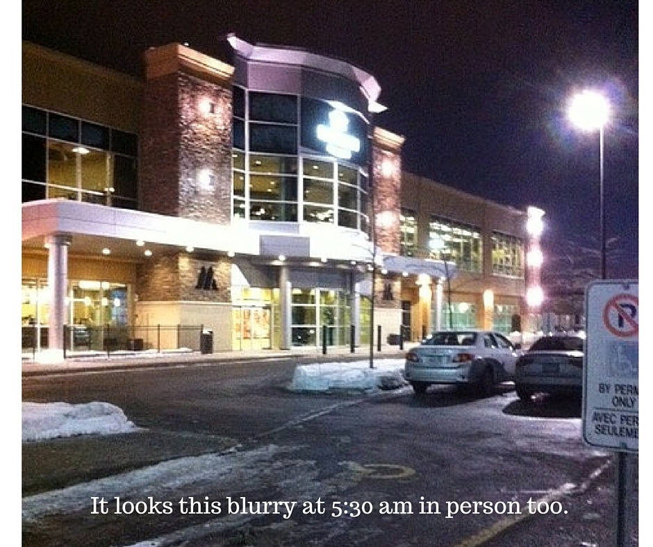 An image of the exterior of a gym at 5:30 am