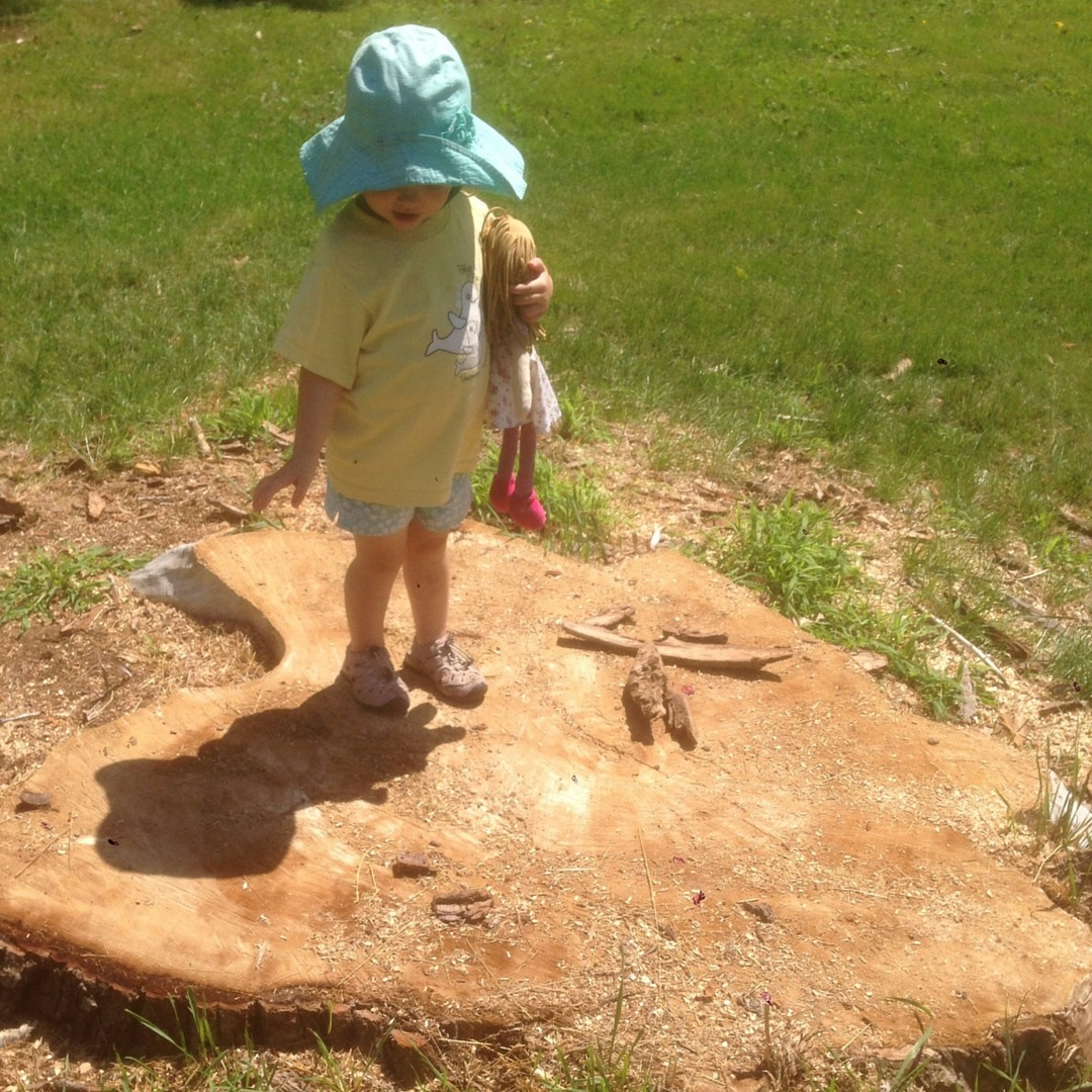 Image of a girl standing on a tree stump